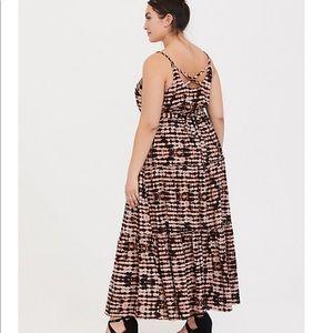 torrid Dresses - Torrid Blk/Brn TieDye Challis Tiered Maxi Dress 0X